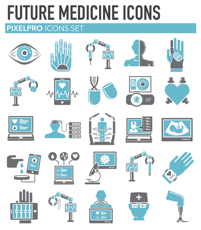 Future medicine icons set on white background for graphic and web design, Modern simple vector sign. Internet concept. Trendy symbol for website design web button or mobile app