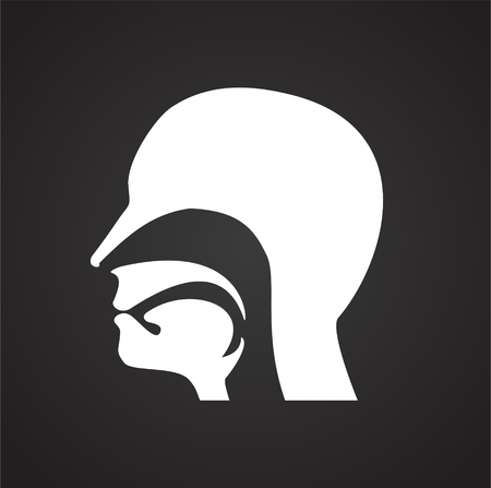 Human head icon on black background for graphic and web design, Modern simple vector sign. Internet concept. Trendy symbol for website design web button or mobile app