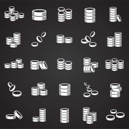 Coin icons set on black background for graphic and web design, Modern simple vector sign. Internet concept. Trendy symbol for website design web button or mobile app