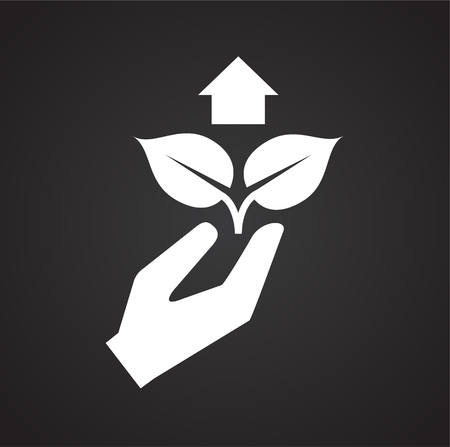Grow icon on black background for graphic and web design, Modern simple vector sign. Internet concept. Trendy symbol for website design web button or mobile app  イラスト・ベクター素材