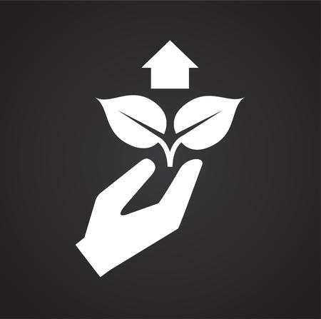 Grow icon on black background for graphic and web design, Modern simple vector sign. Internet concept. Trendy symbol for website design web button or mobile app Ilustração