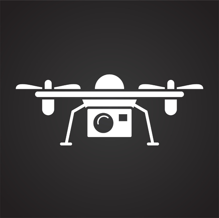 Drone icon on black background for graphic and web design, Modern simple vector sign. Internet concept. Trendy symbol for website design web button or mobile app Reklamní fotografie - 124996116