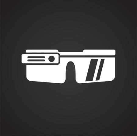 Icono de gogles inteligente sobre fondo negro para diseño gráfico y web sencillo, moderno, signo de vectores. Concepto de internet. Símbolo de moda para el botón web de diseño de sitios web o aplicaciones móviles