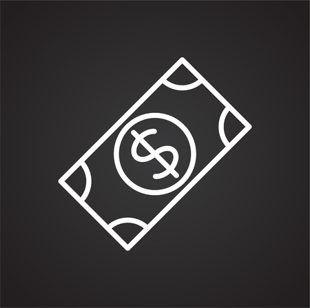 Cash dollar line icon on black background for graphic and web design, Modern simple vector sign. Internet concept. Trendy symbol for website design web button or mobile app Çizim