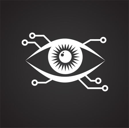 Eye scanner icon on black background for graphic and web design, Modern simple vector sign. Internet concept. Trendy symbol for website design web button or mobile app