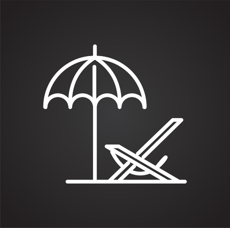 Beach deckchair line icon on black background for graphic and web design, Modern simple vector sign. Internet concept. Trendy symbol for website design web button or mobile app