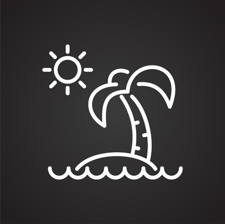 Summer line icon on black background for graphic and web design, Modern simple vector sign. Internet concept. Trendy symbol for website design web button or mobile app 向量圖像