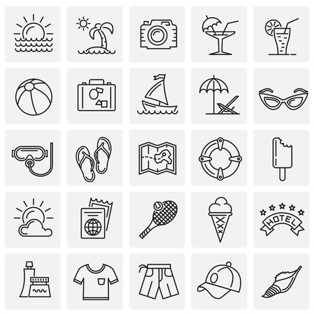 Summer line icons set on squares background for graphic and web design, Modern simple vector sign. Internet concept. Trendy symbol for website design web button or mobile app
