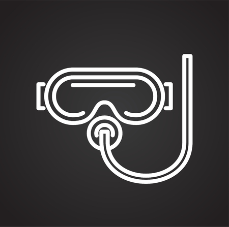 Scuba line icon on black background for graphic and web design, Modern simple vector sign. Internet concept. Trendy symbol for website design web button or mobile app 向量圖像