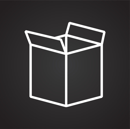 Box line icon on black background for graphic and web design, Modern simple vector sign. Internet concept. Trendy symbol for website design web button or mobile app