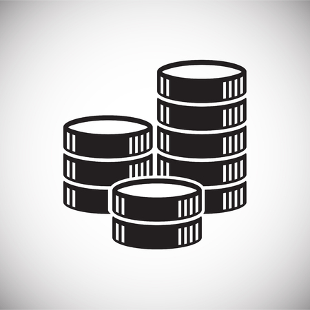 Moneta set di icone su sfondo bianco per grafica e web design, moderno vettore semplice segno. Concetto di Internet. Simbolo alla moda per il pulsante web di progettazione di siti Web o l'app mobile Vettoriali