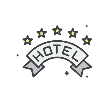 Hotel line icon on white background for graphic and web design, Modern simple vector sign. Internet concept. Trendy symbol for website design web button or mobile app 向量圖像