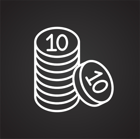 Coins line icon on black background for graphic and web design, Modern simple vector sign. Internet concept. Trendy symbol for website design web button or mobile app