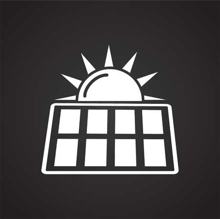 Solar battery icon on black background for graphic and web design, Modern simple vector sign. Internet concept. Trendy symbol for website design web button or mobile app