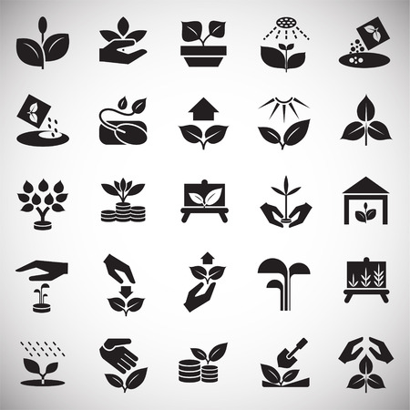 Grow icons set on white background for graphic and web design, Modern simple vector sign. Internet concept. Trendy symbol for website design web button or mobile app