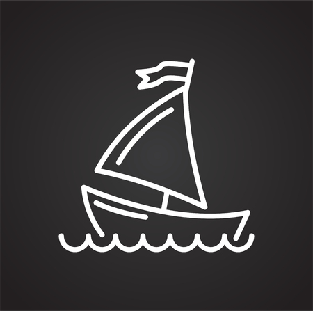 Boat line icon on black background for graphic and web design, Modern simple vector sign. Internet concept. Trendy symbol for website design web button or mobile app