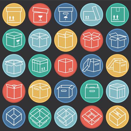 Box line icons set on color circles black background for graphic and web design, Modern simple vector sign. Internet concept. Trendy symbol for website design web button or mobile app Illustration