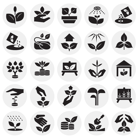 Grow icons set on circles background for graphic and web design, Modern simple vector sign. Internet concept. Trendy symbol for website design web button or mobile app