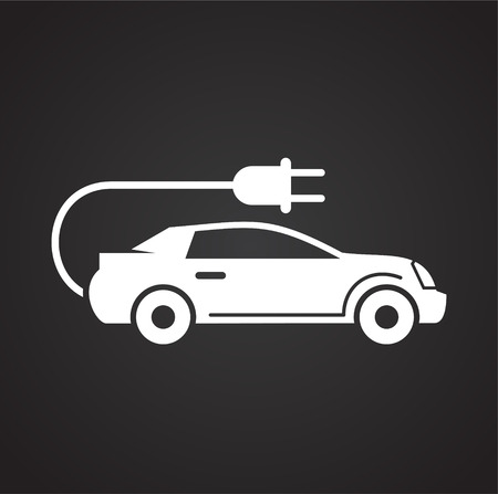Electric car icon on black background for graphic and web design, Modern simple vector sign. Internet concept. Trendy symbol for website design web button or mobile app