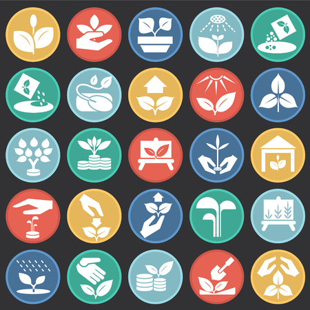 Grow icons set on color circles black background for graphic and web design, Modern simple vector sign. Internet concept. Trendy symbol for website design web button or mobile app