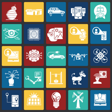 Future technologies icons set on color squares background for graphic and web design, Modern simple vector sign. Internet concept. Trendy symbol for website design web button or mobile app