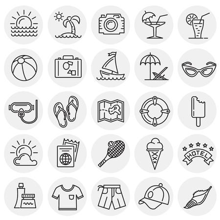 Summer line icons set on circles background for graphic and web design, Modern simple vector sign. Internet concept. Trendy symbol for website design web button or mobile app Reklamní fotografie - 124996265