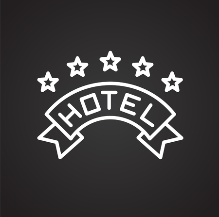 Hotel line icon on black background for graphic and web design, Modern simple vector sign. Internet concept. Trendy symbol for website design web button or mobile app Ilustrace