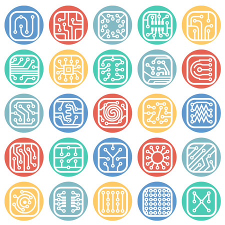 Electronic circuit icons set on color circles white background for graphic and web design, Modern simple vector sign. Internet concept. Trendy symbol for website design web button or mobile app Ilustrace