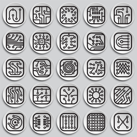 Electronic circuit icons set on plates background for graphic and web design, Modern simple vector sign. Internet concept. Trendy symbol for website design web button or mobile app
