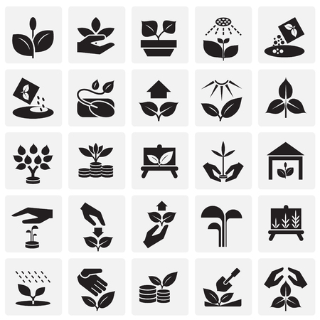 Grow icons set on squares background for graphic and web design, Modern simple vector sign. Internet concept. Trendy symbol for website design web button or mobile app Ilustrace
