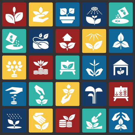 Grow icons set on color squares background for graphic and web design, Modern simple vector sign. Internet concept. Trendy symbol for website design web button or mobile app Ilustrace