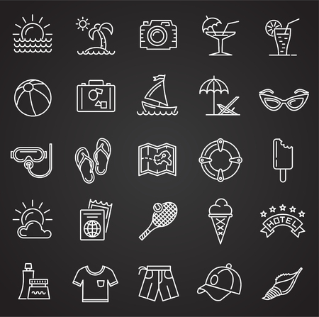 Summer line icons set on black background for graphic and web design, Modern simple vector sign. Internet concept. Trendy symbol for website design web button or mobile app