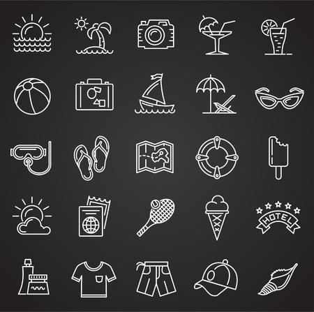 Summer line icons set on black background for graphic and web design, Modern simple vector sign. Internet concept. Trendy symbol for website design web button or mobile app Reklamní fotografie - 124996298