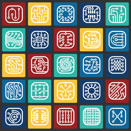 Electronic circuit icons set on color squares background for graphic and web design, Modern simple vector sign. Internet concept. Trendy symbol for website design web button or mobile app