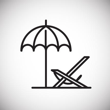 Strandliegestuhl-Liniensymbol auf weißem Hintergrund für Grafik- und Webdesign, modernes einfaches Vektorzeichen. Internet-Konzept. Trendiges Symbol für Website-Design-Web-Button oder mobile App Vektorgrafik