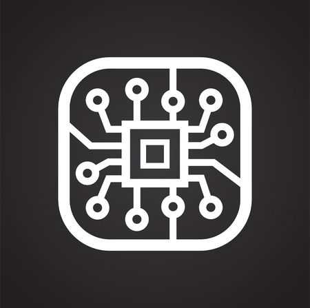 Electronic circuit icon on black background for graphic and web design, Modern simple vector sign. Internet concept. Trendy symbol for website design web button or mobile app Фото со стока - 124996303