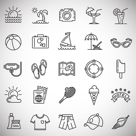 Summer line icons set on white background for graphic and web design, Modern simple vector sign. Internet concept. Trendy symbol for website design web button or mobile app
