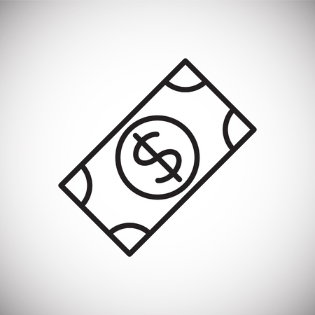 Cash dollar line icon on white background for graphic and web design, Modern simple vector sign. Internet concept. Trendy symbol for website design web button or mobile app Çizim