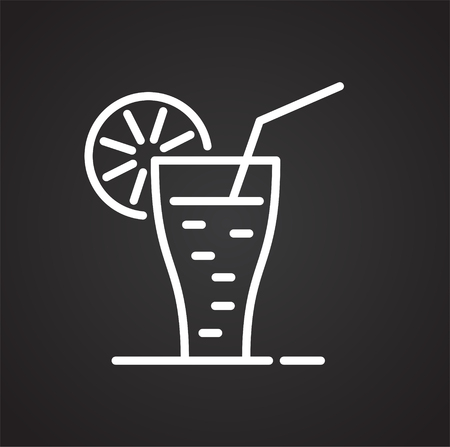 Cocktail line icon on black background for graphic and web design, Modern simple vector sign. Internet concept. Trendy symbol for website design web button or mobile app Ilustrace