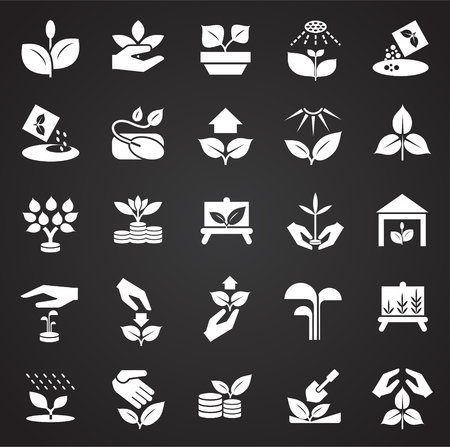 Grow icons set on black background for graphic and web design, Modern simple vector sign. Internet concept. Trendy symbol for website design web button or mobile app
