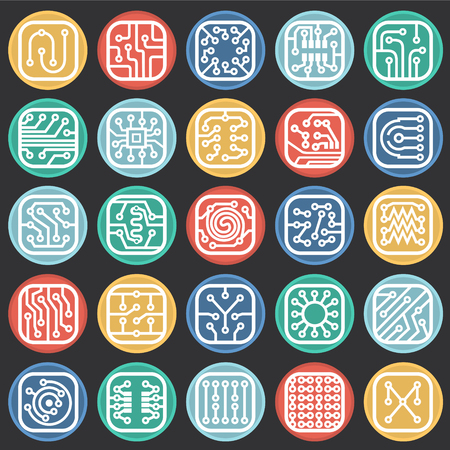 Electronic circuit icons set on color circles black background for graphic and web design, Modern simple vector sign. Internet concept. Trendy symbol for website design web button or mobile app Illustration