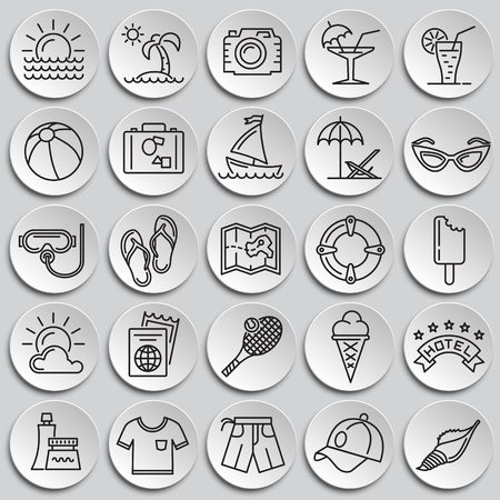 Summer line icons set on plates background for graphic and web design, Modern simple vector sign. Internet concept. Trendy symbol for website design web button or mobile app Stock Illustratie