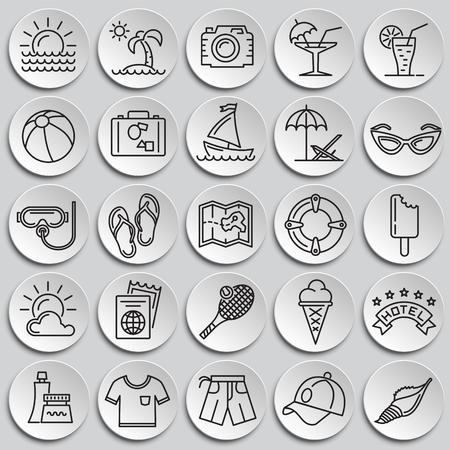 Summer line icons set on plates background for graphic and web design, Modern simple vector sign. Internet concept. Trendy symbol for website design web button or mobile app Ilustração