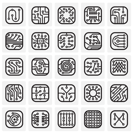 Electronic circuit icons set on squares background for graphic and web design, Modern simple vector sign. Internet concept. Trendy symbol for website design web button or mobile app Çizim