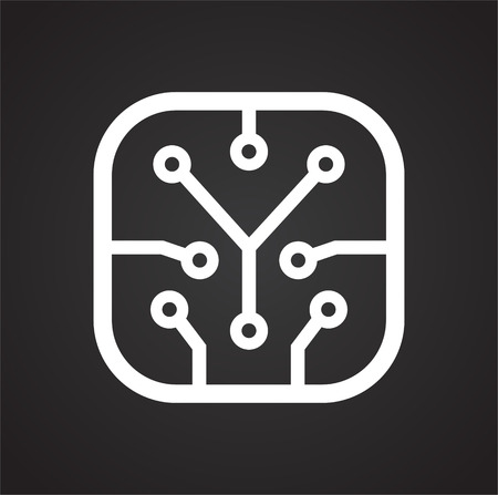 Electronic circuit icon on black background for graphic and web design, Modern simple vector sign. Internet concept. Trendy symbol for website design web button or mobile app