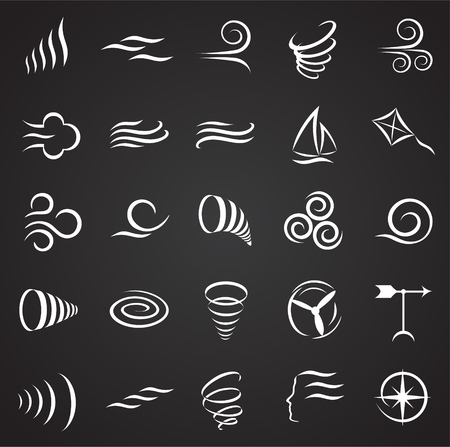 Wind icons set on black background for graphic and web design, Modern simple vector sign. Internet concept. Trendy symbol for website design web button or mobile app