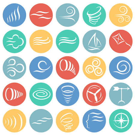 Wind icons set on color circles white background for graphic and web design, Modern simple vector sign. Internet concept. Trendy symbol for website design web button or mobile app