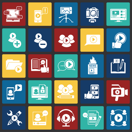 Video Blog iconos en cuadrados de color de fondo para diseño gráfico y web sencillo, moderno, signo de vectores. Concepto de internet. Símbolo de moda para el botón web de diseño de sitios web o aplicaciones móviles