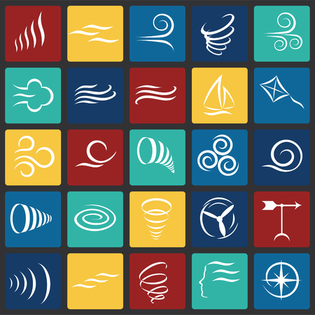 Wind icons set on color squares background for graphic and web design, Modern simple vector sign. Internet concept. Trendy symbol for website design web button or mobile app