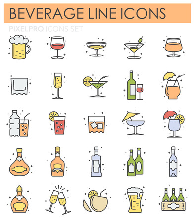 Beverage line color icons set on white background for graphic and web design, Modern simple vector sign. Internet concept. Trendy symbol for website design web button or mobile app Vettoriali